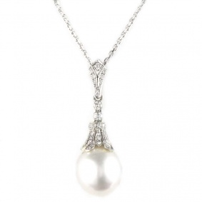 18k White Gold Diamond and Pearl Drop Pendant